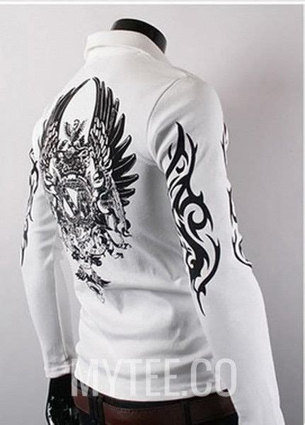 tattoo healing long sleeve men s long sleeve polo shirt with winged emblem on the