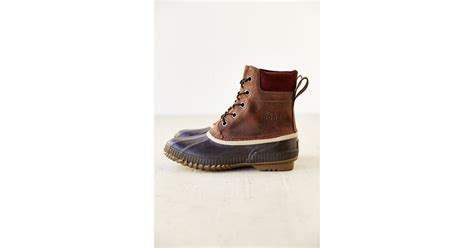 sorel suede duck boot in brown for lyst