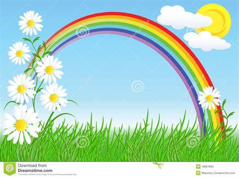 imagenes de paisajes naturales infantiles camomiles con la hierba verde y el arco iris ilustraci 243 n