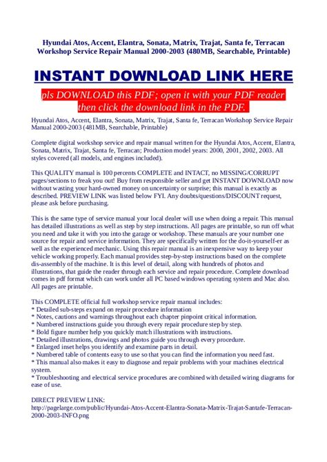 service manual manual repair autos 2003 hyundai santa fe regenerative braking download 2005 hyundai atos accent elantra sonata matrix trajat santa fe terr
