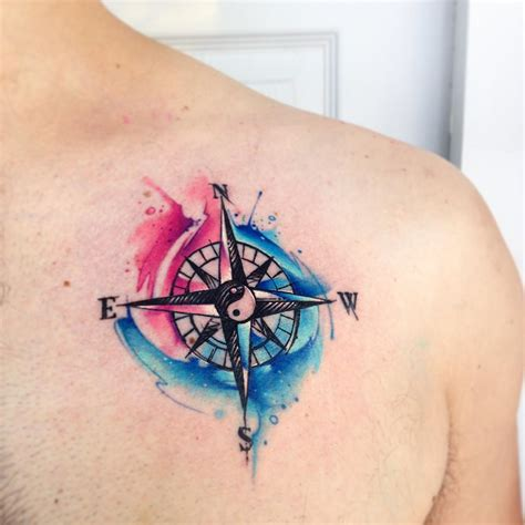 watercolor tattoo compass compass watercolor but without the yin yang