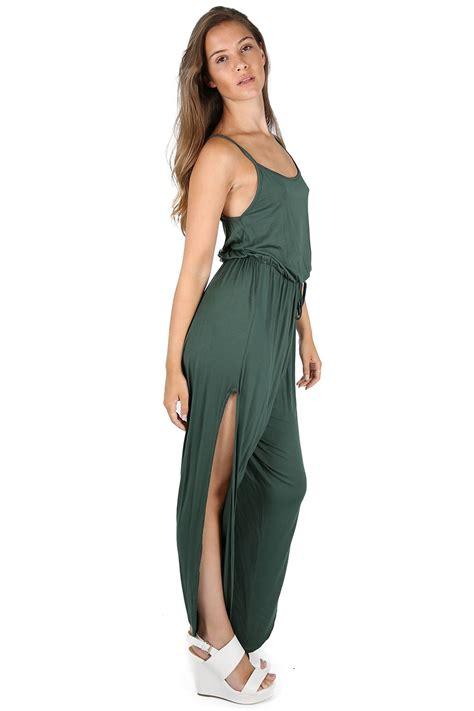 ebay jumpsuit womens ladies all in one piece tie knot leg side split