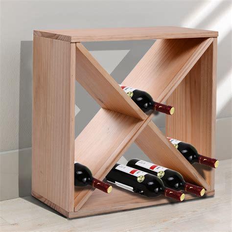 homcom wooden wine rack for 24 bottle square tabletop