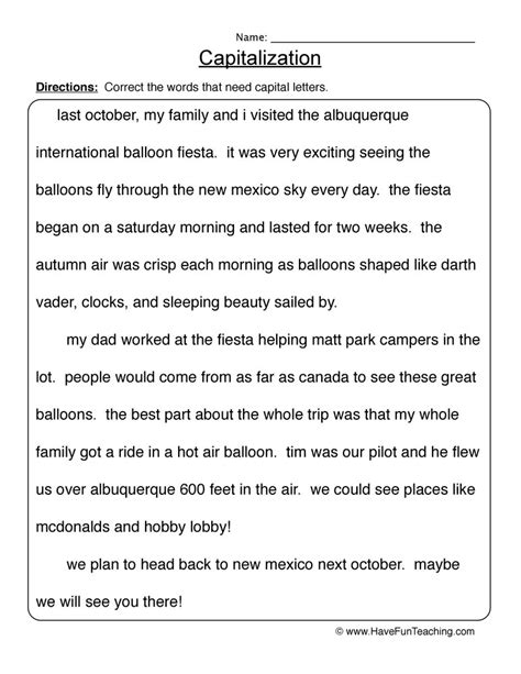 capitalization worksheets 3rd grade resources capitalization worksheets