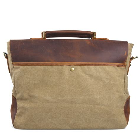 Handmade Laptop Bags - vintage handmade leather canvas briefcase