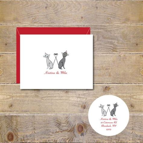Cat Themed Wedding Invites by Cat Wedding Thank You Cards Cats Cat Bridal Shower Cards