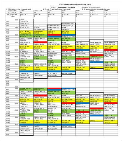 assignment schedule template assignment schedule template 6 free word excel pdf