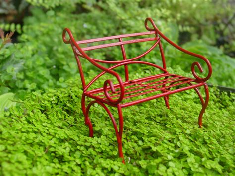 mini garden bench red fairy garden accessories miniature garden bench