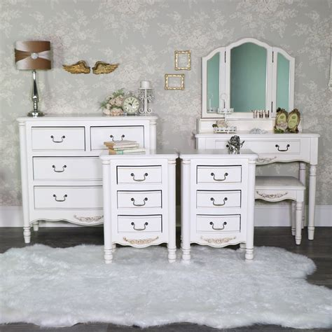 cream bedroom furniture dressing table set chest  drawers pair  bedside tables adelise
