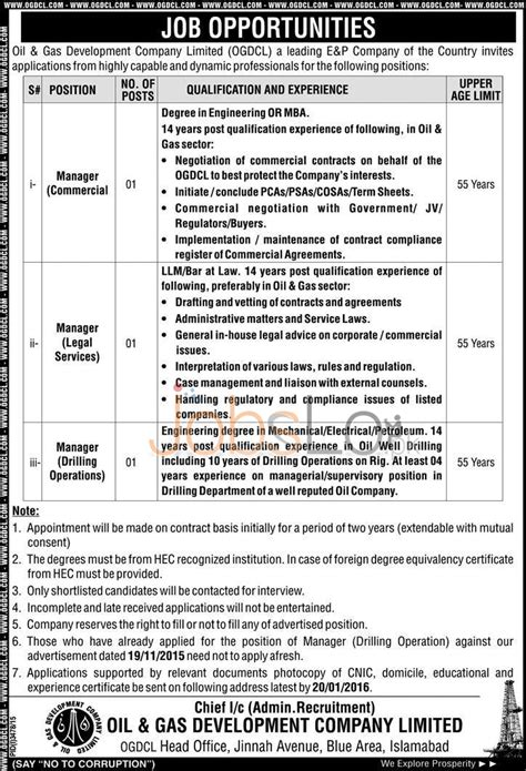 Mba In And Gas Opportunities by Ogdcl January 2016 Career Opportunities