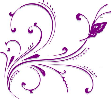 Qw Wallpaper Sticker Rangkai Bunga Sulur Pink purple butterfly scroll clip at clker vector clip royalty free domain