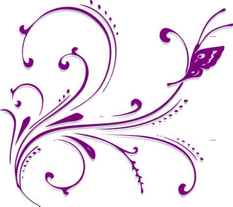 Jw Wallborder Sulur Daun Light Yellow purple butterfly scroll clip at clker vector