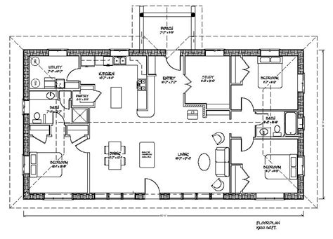 rectangular floor plans eco family plan