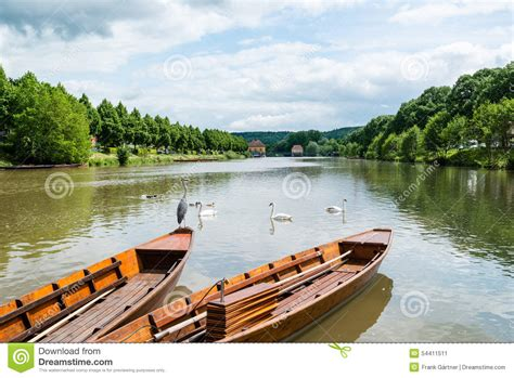 punt a boat traditional punt boats in tubingen aka tuebingen stock