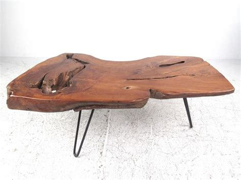 rustic modern free edge tree slab coffee table on hairpin