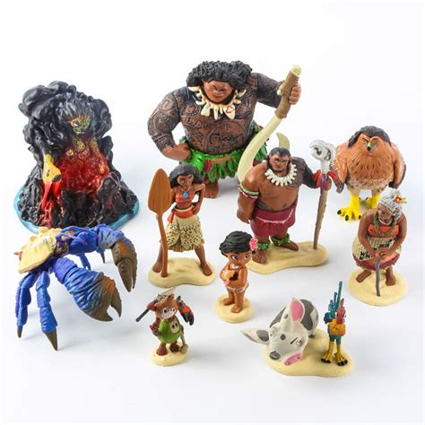 moana figures with boat 10pcs set disney souvenir moana pvc action figure toy maui