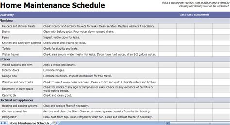 home maintenance checklist home maintenance template