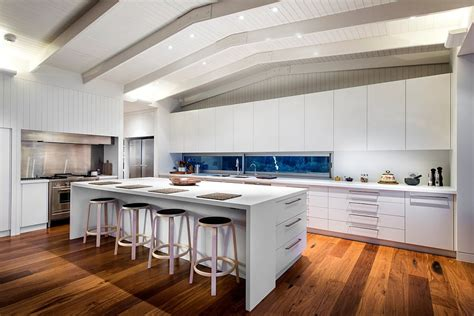 Kitchen And Lounge Design Combined Private Beach House With Ocean Views And A Woodsy Silhouette