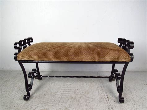 wrought iron bench black wrought iron bench with upholstered seat at 1stdibs