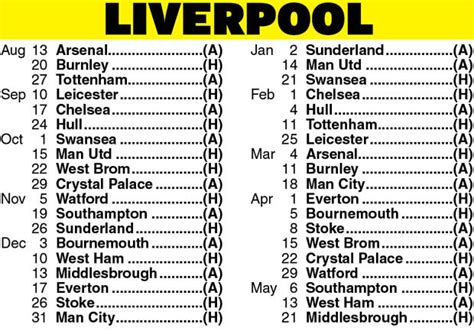 printable liverpool schedule image gallery liverpool fixtures 2016