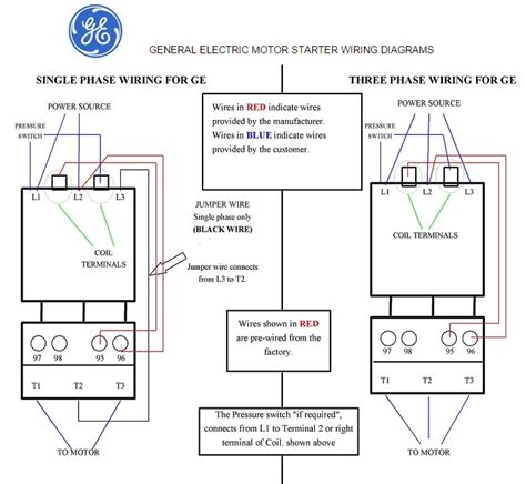wiring diagram for 3 phase motor starter general electric motor starter 1 phase and 3 phase wiring
