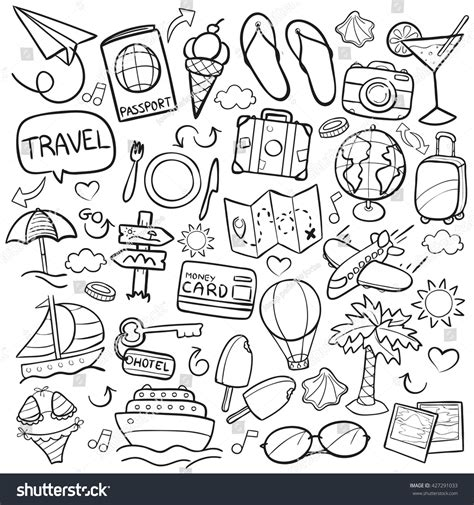 travel doodle free vector travel doodle icons made stock vector 427291033