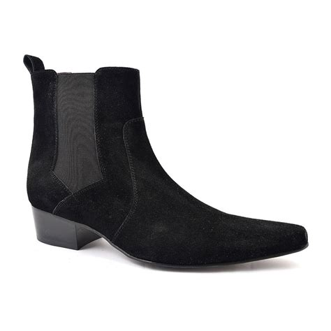 mens black suede chelsea boots uk buy cuban heel black suede chelsea boot gucinari