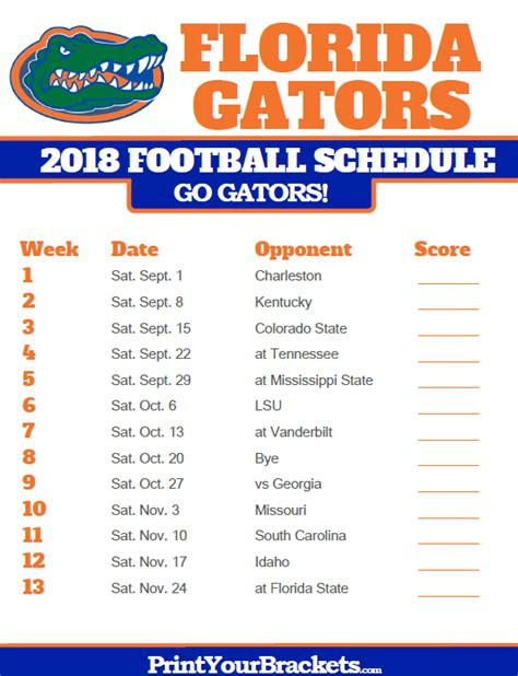 Auburn Football Schedule 2018 Printable