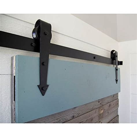 Sliding Barn Door Track And Rollers Winsoon 10ft Modern Sliding Barn Wood Door Hardware Roller Track Kit Black Arrow Style