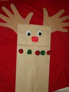 preschool crafts for kids paper bag reindeer puppet