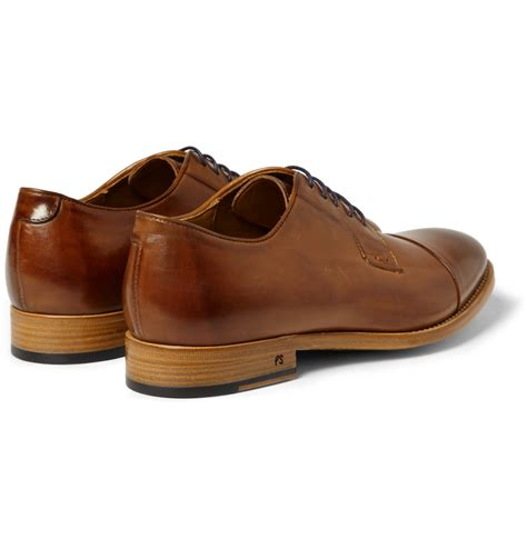 brown derby shoes paul smith ernest burnished leather derby shoes in brown