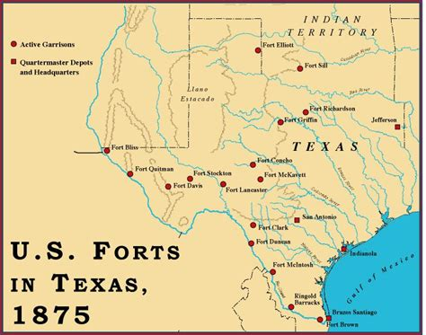 fort texas on map texas forts in 1875