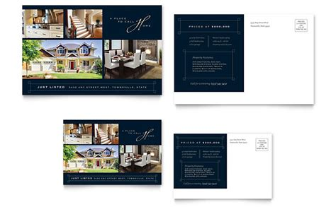 Luxury Home Real Estate Postcard Template Design Real Estate Postcard Templates