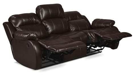 change leather sofa to fabric omega leather look fabric reclining sofa brown the brick