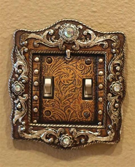 western light switch covers this old west vintage brown engraved double light switch