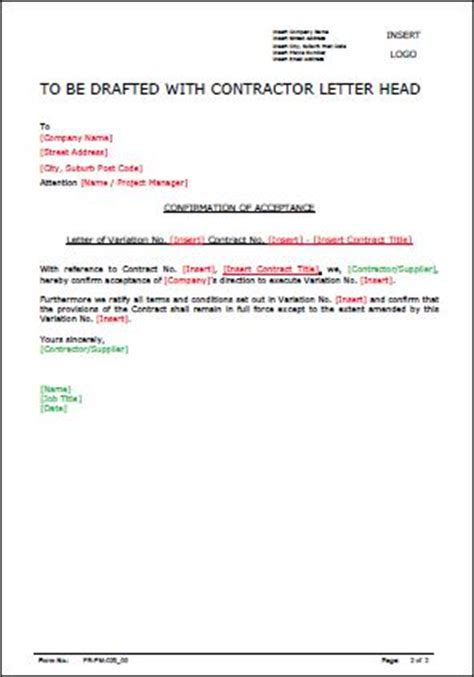 Contract Of Employment Variation Letter Template Variation Approval Letter Allsafety Management Services