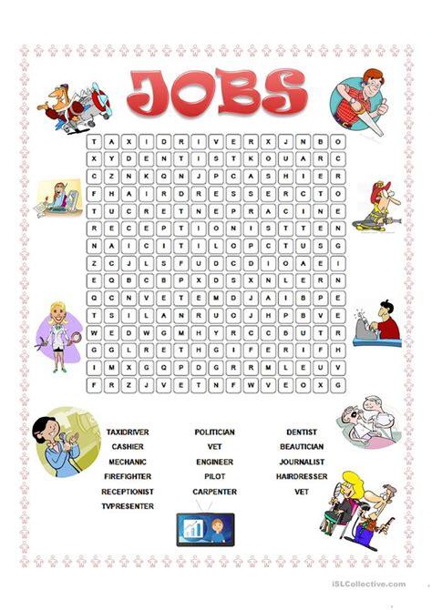 esl wordsearches jobs wordsearch worksheet free esl printable worksheets