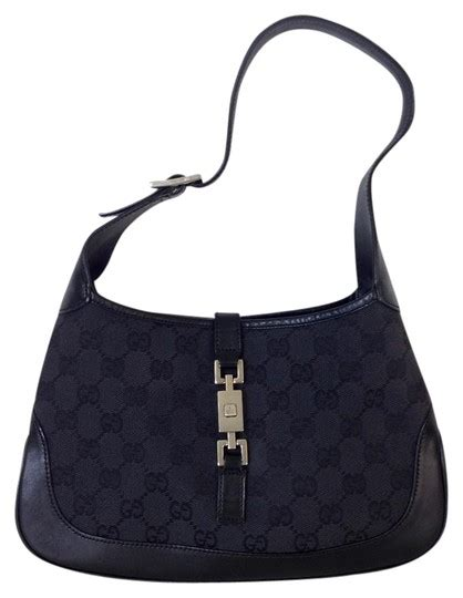 gucci jackie  black gg monogram canvas leather hobo bag