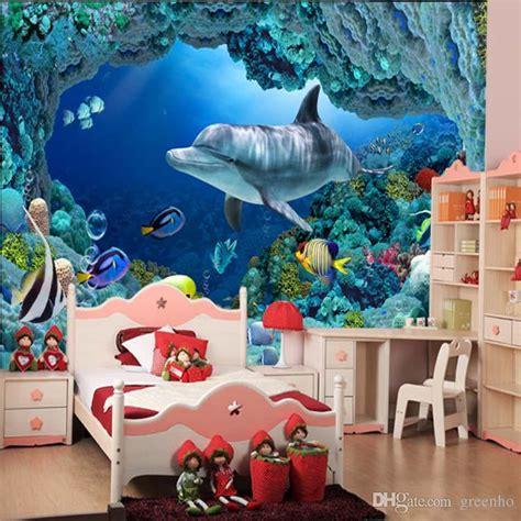 3d wall mural underwater world cute fish dolphin large wallpaper art home decoration children s