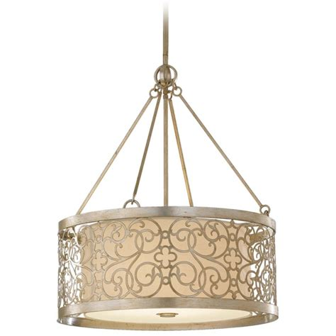 Metal Drum Pendant Light Drum Pendant Light With White Shade And Metal Overlay F2537 4slp Destination Lighting