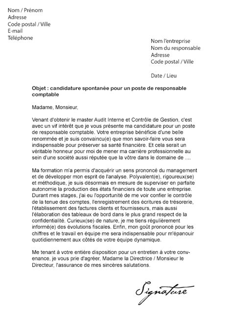 Lettre De Motivation De Responsable Lettre De Motivation Responsable Comptable Mod 232 Le De Lettre