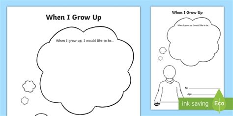 When I Grow Up Worksheet by When I Grow Up Worksheet Activity Sheet Eyfs Early Years