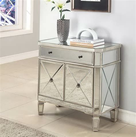Accent Table With Drawer Mirrored Accent Table With Drawer Reversadermcream