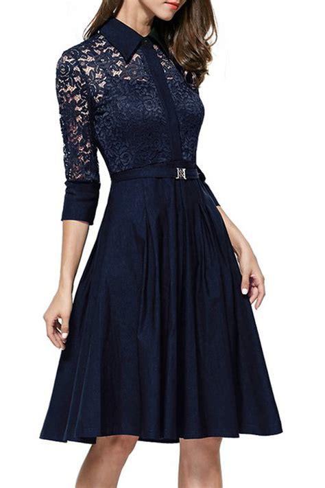 Annisa Dress Navy 1 kettymore collar style slim waist halter skirt lace dress navy blue kettymore