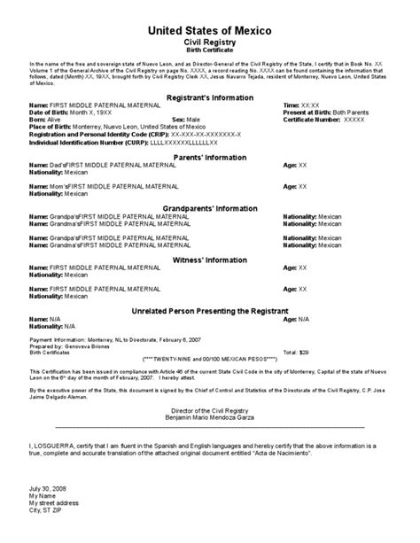 To Birth Certificate Translation Template by Birth Certificate Template Translation Recommendation