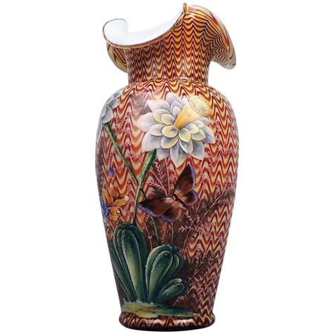 Victorian Glass Vase English Victorian Art Glass Vase With Enameled Flowers By