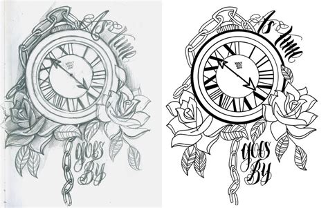 tattoo flash watch as time goes by by 12kathylees12 on deviantart