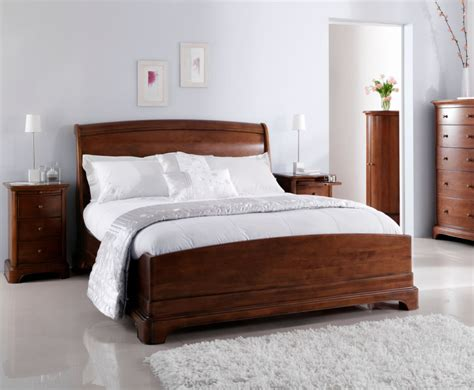 Wood Sleigh Bed Chambery Cherry Wooden Sleigh Bed