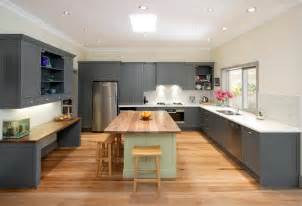 bloombety large kitchen island design with grey wardrobe