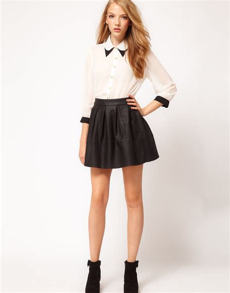 asos collection skater skirt in leather look in black lyst